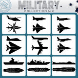 Military Planes and Warships Stock Image