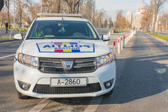 Military police car. The photo was taken in Bucharest, Romania at December 1st parade Royalty Free Stock Images