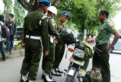 Military police. Conduct raids against soldiers who violate the discipline in the city of Solo, Central Java, Indonesia Royalty Free Stock Images