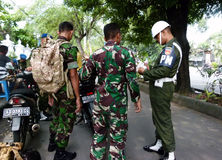 Military. Police conduct raids against soldiers who violate the discipline in the city of Solo, Central Java, Indonesia Royalty Free Stock Photos