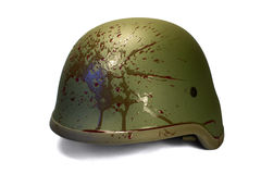 Military or police helmet with blood splattered. Royalty Free Stock Photography