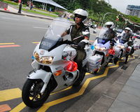 Military police on motorbikes Royalty Free Stock Image