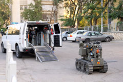 Military or police robot used to safely move or detonate bombs a. BEER SHEVA, ISRAEL - NOVEMBER 18, 2012:  Military or police robot used to safely move or Royalty Free Stock Images