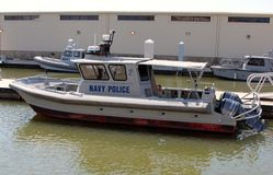 Military Police Small Shoreline Patrol Boat Royalty Free Stock Photography