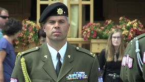 OLOMOUC, CZECH REPUBLIC, JUNE 29 , 2018: Military police, soldier officer member of the army with ranked rank and nice stock video footage