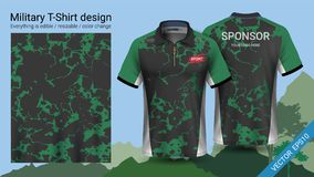 Military polo t-shirt design, with camouflage print clothes for jungle, hiking trekking or hunter, Vector eps10 file stock illustration
