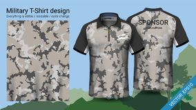 Military polo t-shirt design, with camouflage print clothes for jungle, hiking trekking or hunter, Vector eps10 file vector illustration