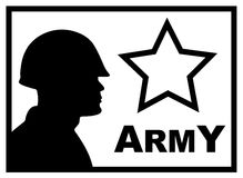 Military poster. BW military poster with silhouette of soldier Royalty Free Stock Photography