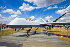 Military Predator UAV drone. VOLKEL, NETHERLANDS - JUN 15, 2013: Military General Atomics MQ-1 Predator UAV drone on display at the Royal Netherlands Air Force stock photography