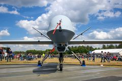 Military Predator UAV drone. VOLKEL, NETHERLANDS - JUN 15, 2013: Military General Atomics MQ-1 Predator UAV drone on display at the Royal Netherlands Air Force stock images