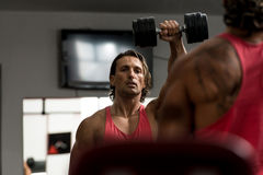Military Press with Dumbbells. Bodybuilder exercising military press with dumbbells royalty free stock image