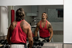Military Press with Dumbbells. Bodybuilder exercising military press with dumbbells stock images