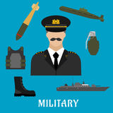 Military profession and navy flat icons. Military profession flat icons with moustached man in uniform, encircled by body armor, army boots, hand grenade Royalty Free Stock Images
