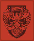 Eagle Badge Design. A Military/Propaganda-style Eagle shield with customizable banners Stock Photos