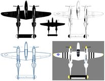 Military Propeller Airplanes Illustration Vector. Military Propeller Airplanes  Illustration Vector Royalty Free Stock Photo