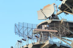 Military Radar. On Amphibious Assault Ship Stock Image
