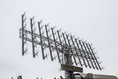 Military radar antenna. A grid of small antennas collected large. Royalty Free Stock Images