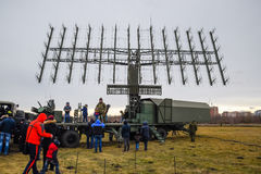 Military radar antenna. A grid of small antennas collected large. Royalty Free Stock Photography