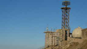 Military radar. A military radar base found in Santorini, Greece Royalty Free Stock Photography