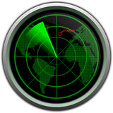 Military radar screen. Green military radar screen with world map Stock Photography