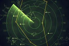 Military radar screen is scanning air traffic. 3D rendered illustration.  Royalty Free Stock Images