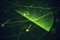Military radar screen is scanning air traffic. 3D rendered illustration royalty free illustration