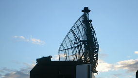Military radar station, modern mobile satellite antenna,. Military radar station, rotated mobile satellite antenna