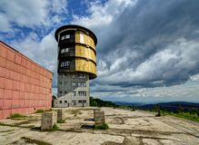 Military radar tower. Military tower on the highest mountain of the Czech forest Royalty Free Stock Photos