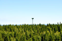 Military radar tower. In the middle of the Swedish forest stock photo
