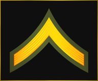 Military Ranks And Insignia. Stripes And Chevrons Of Army Royalty Free Stock Images