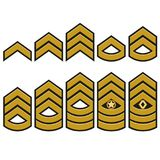 Military ranks set, Army Patches. Vector. Military ranks symbol, epaulet set, Army Patches with stars, armed warrior badge typography, t-shirt graphics. vector Stock Photo