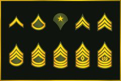 Military Ranks Stripes And Chevrons. Vector Set Army Insignia Royalty Free Stock Photography