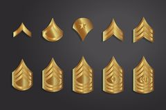 Military Ranks Stripes and Chevrons. Vector Set Army Insignia Royalty Free Stock Images