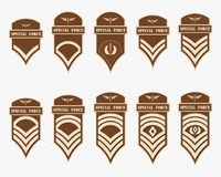 Military Ranks Stripes and Chevrons. Vector Set Army Insignia Royalty Free Stock Image