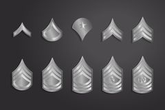 Military Ranks Stripes and Chevrons. Vector Set Army Insignia Stock Image