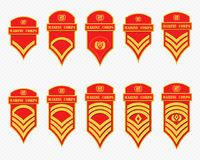 Military Ranks Stripes and Chevrons. Vector Set Army Insignia Royalty Free Stock Photo
