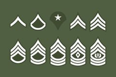 Military Ranks Stripes and Chevrons. Vector Set Army Insignia Stock Images