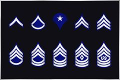 Military Ranks Stripes and Chevrons. Vector Set Army Insignia Stock Photo