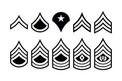 Military Ranks Stripes and Chevrons. Vector Set Army Insignia. Sergeant`s Staff Royalty Free Stock Image
