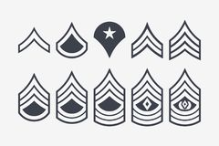 Military Ranks Stripes and Chevrons. Vector Set Army Insignia. Sergeant`s Staff Royalty Free Stock Photos