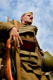Military re - enactor in Russian soviet uniform world war II.  Russian soldier. Stock Image