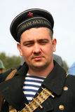 Military re - enactor in Russian soviet uniform world war II.  Russian soldier - military sailor. Royalty Free Stock Photography