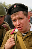 Military re - enactor in Russian soviet uniform world war II.  Russian soldier - military sailor. Stock Photos