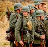 Military re - enactors in German uniform world war II. German soldiers. Royalty Free Stock Photos