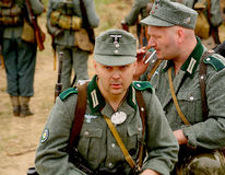 Military re - enactors in German uniform world war II. German soldiers. Stock Photography