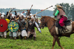 The military reconstruction of the battles of the ancient Slavs in the fifth festival of historical clubs in Zhukovsky district of Stock Image