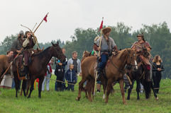 The military reconstruction of the battles of the ancient Slavs in the fifth festival of historical clubs in Zhukovsky district of Royalty Free Stock Photo