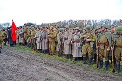 Military reconstruction devoted to free Kiev. Royalty Free Stock Image