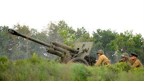 Military reconstruction stock video footage