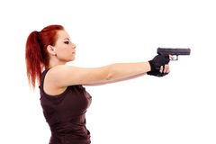 Military redhead beautiful young lady Royalty Free Stock Image